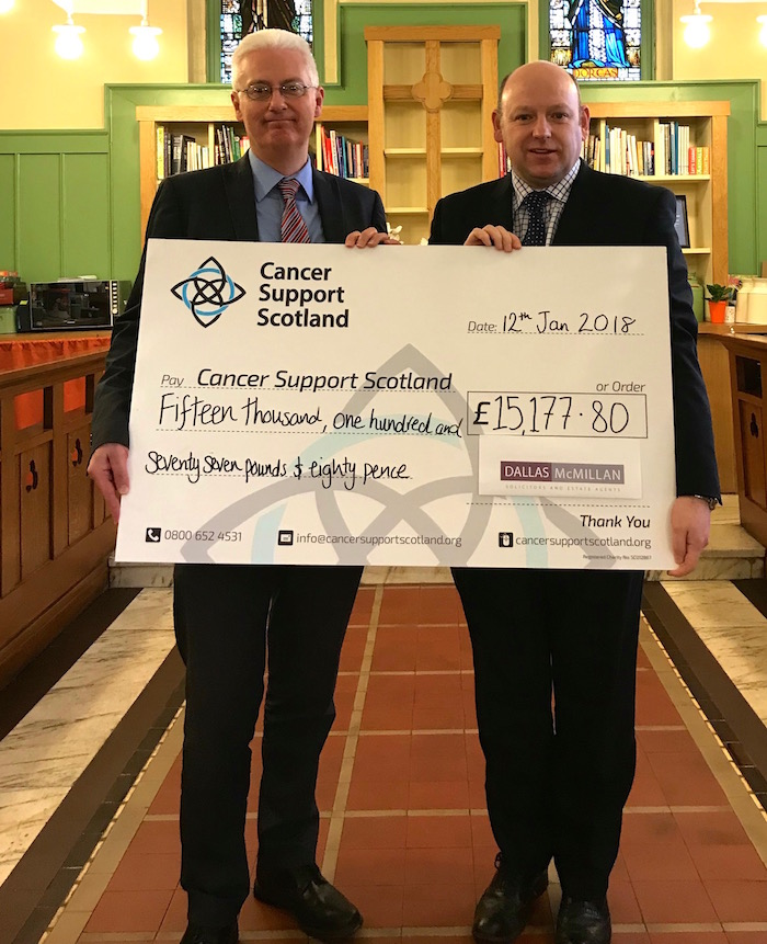 Cancer Support Scotland Commend Dallas McMillan's Fundraising Efforts